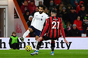 Mohamed Salah (11) of Liverpool on the attack takes on Diego Rico (21) of AFC Bournemouth during the Premier League match between Bournemouth and Liverpool at the Vitality Stadium, Bournemouth, England on 7 December 2019.