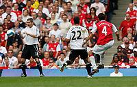 Photo: Steve Bond.<br />Arsenal v Derby County. The FA Barclays Premiership. 22/09/2007. Cesc Fabrigas (4, R) fires in No4