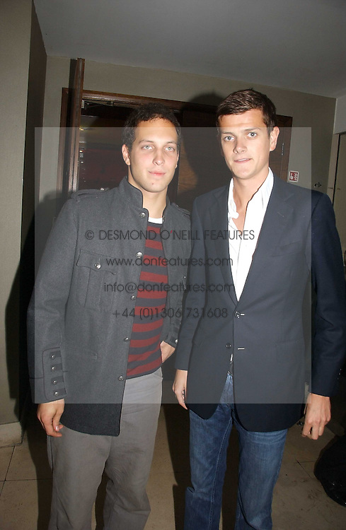 Left to right, LORD FREDDIE WINDSOR and the HON.ALEXANDER SPENCER-CHURCHILL at Stelle d'Italia - a celebration of Italian design, fashion and style at The Roof Gardens, 99 Kensington High Street, London on 22nd September 2006.<br />
