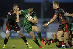 November 3, 2018 - Galway, Ireland - Colm De Buitlear of Connacht tackled by Jason Tovey of Dragons during the Guinness PRO14 match between Connacht Rugby and Dragons at the Sportsground in Galway, Ireland on November 3, 2018  (Credit Image: © Andrew Surma/NurPhoto via ZUMA Press)