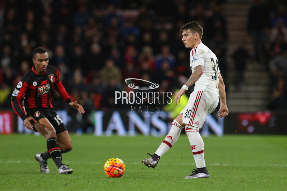 Paddy McNair of Manchester United during the Barclays Premier League match between Bournemouth and Manchester United at the Goldsands Stadium, Bournemouth, England on 12 December 2015. Photo by Phil Duncan.