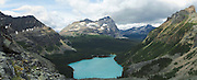 Panoramic view of beautiful, remote Lake O'Hara and Mount Odoray in the background, in Yoho National Park, near Field, British Columbia, Canada