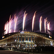 The firework display as Citi Field after the New York Mets 5-4 victory during the New York Mets Vs Miami Marlins MLB regular season baseball game at Citi Field, Queens, New York. USA. 18th April 2015. Photo Tim Clayton