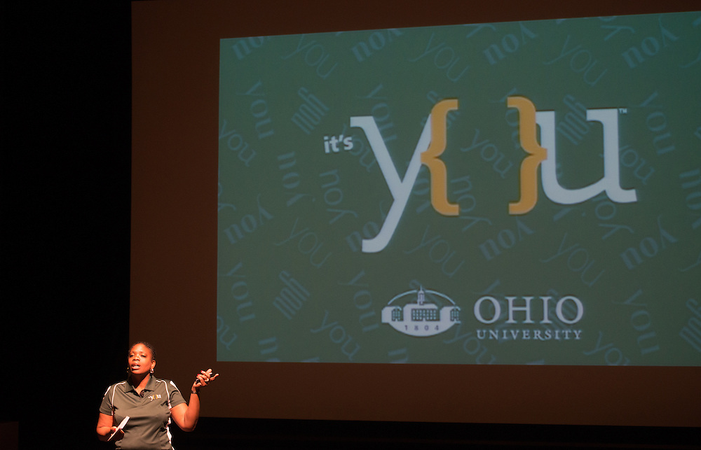 Renea Morris, Executive Director of University Communications and Marketing, introduces the Ohio University community to OHIO's new It's You branding campaign. Photo by Ben Siegel