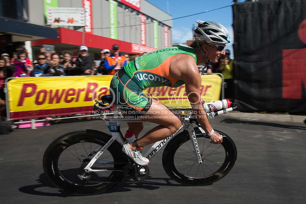 Meredith KESSLER (USA). Ironman Asia Pacific Championship Melbourne. Triathlon. Frankston And St Kilda, Melbourne, Victoria, Australia. 24/03/2013. Photo By Lucas Wroe
