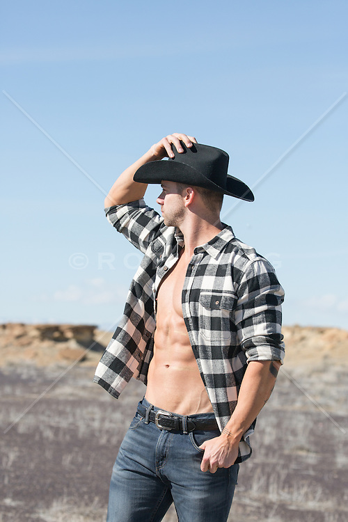 hot rugged cowboy outdoors