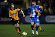 Luke Berry of Cambridge United and Michael Woods of Hartlepool United in action during the EFL Sky Bet League 2 match between Cambridge United and Hartlepool United at the Cambs Glass Stadium, Cambridge, England on 14 March 2017. Photo by Harry Hubbard.