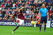 Alim ozturk takes the free kick during the Ladbrokes Scottish Premiership match between Heart of Midlothian and Aberdeen at Tynecastle Stadium, Gorgie, Scotland on 20 September 2015. Photo by Craig McAllister.