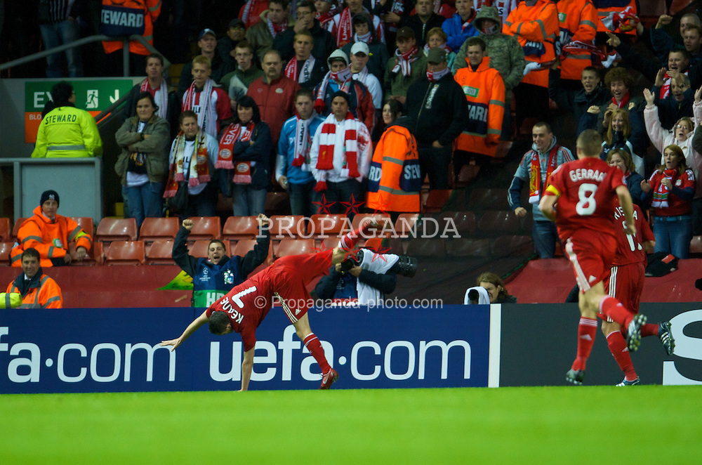LIVERPOOL, ENGLAND - Wednesday, October 1, 2008: Liverpool's Robbie Keane celebrates scoring his first goal for the club, putting his side 2-0 up against PSV Eindhoven, during the UEFA Champions League Group D match at Anfield. (Photo by David Rawcliffe/Propaganda)