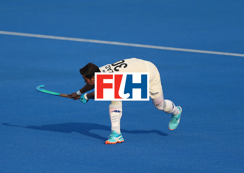 LONDON, ENGLAND - JUNE 19: Izad Jamaluddin of Malaysia scores his teams first goal during the Pool A match between South Korea and Malaysia on day five of Hero Hockey World League Semi-Final at Lee Valley Hockey and Tennis Centre on June 19, 2017 in London, England. (Photo by Alex Morton/Getty Images)