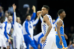 Kentucky guard Malik Monk celebrates on of his three point baskets in the second half. <br /> <br /> The University of tKentucky hosted the University of California Los Angeles in a 2017 NCAA Division 1 Sweet 16 game, Friday, March 24, 2017 at FedExForum in Memphis.