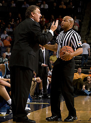 Old Dominion head coach Blaine Taylor discusses a call with an official.  The Virginia Cavaliers men's basketball team defeated the Old Dominion Monarchs 80-76 in the second round of the College Basketball Invitational (CBI) at the University of Virginia's John Paul Jones Arena in Charlottesville, VA on March 24, 2008.
