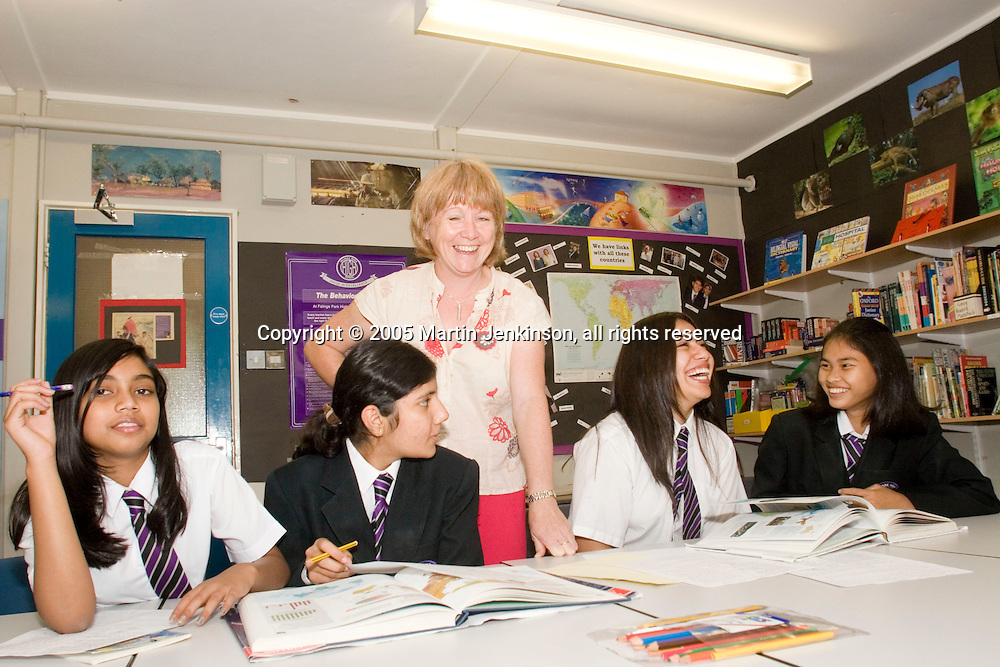 Heather Weatherhead EMAT Teacher at Falinge Park School Rochdale...© Martin Jenkinson, tel/fax 0114 258 6808 mobile 07831 189363 email martin@pressphotos.co.uk. Copyright Designs & Patents Act 1988, moral rights asserted credit required. No part of this photo to be stored, reproduced, manipulated or transmitted to third parties by any means without prior written permission