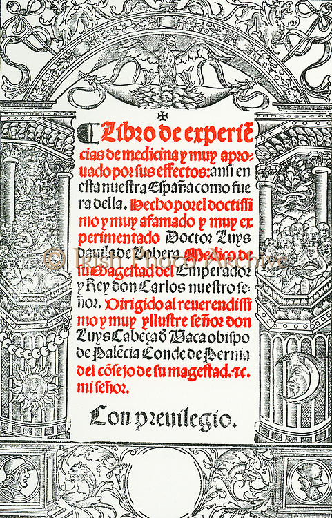 Title page of 'Libro de Experiencias de Medicina', Toledo, 1544,  by Luis Lobera de Avila. Born in Avila in the late 15th century, Lobera was physician to the Holy Roman Emperor Charles V whom he accompanied on his expeditions abroad.