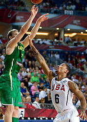 Martynas Pocius of Lithuania vs Derrick Rose of USA during the first semifinal basketball match between National teams of USA and Lithuania at 2010 FIBA World Championships on September 11, 2010 at the Sinan Erdem Dome in Istanbul, Turkey.   (Photo By Vid Ponikvar / Sportida.com)