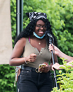 Bar Harbor, Maine. July 19, 2020. Kosi Ifeji speaks at the MDI Racial Justice Coalition rally.
