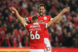 February 17, 2018 - Lisbon, Lisbon, Portugal - Benficas defender Ruben Dias from Portugal celebrating with Benficas defender Jardel from Brazil after scoring a goal during the Premier League 2017/18 match between SL Benfica v Boavista FC, at Luz Stadium in Lisbon on February 17, 2018. (Credit Image: © Dpi/NurPhoto via ZUMA Press)