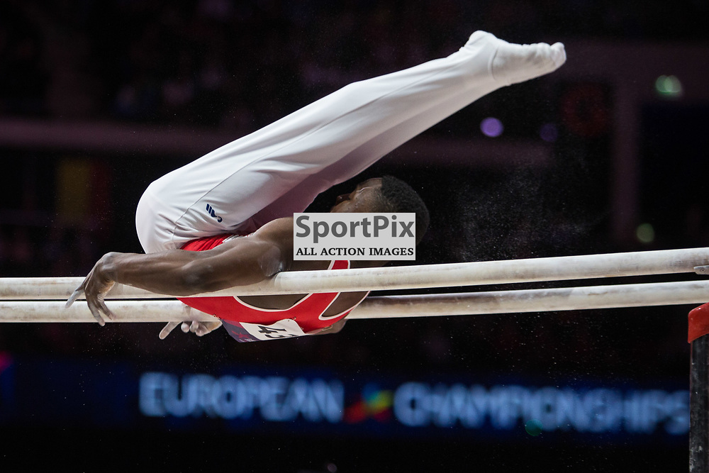 Henji Mboyo of Switzerland competes in the Gymnastics Team Men Qualification - 2018 European Championships Glasgow, 9 August 2018. (c) Adam Oliver | sportPix.org.uk