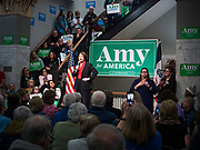 26 JANUARY 2020 - DES MOINES, IOWA: US Senator AMY KLOBUCHAR speaks to a crowd of about 200 people at a campaign event in Des Moines Sunday evening. Sen. Klobuchar campaigned to support her candidacy for the US Presidency Sunday in central Iowa during the one day break from the impeachment trial of President Trump. She is trying to capitalize on her recent uptick in national polls. Iowa holds the first selection event of the presidential election cycle. The Iowa Caucuses are Feb. 3, 2020.       PHOTO BY JACK KURTZ
