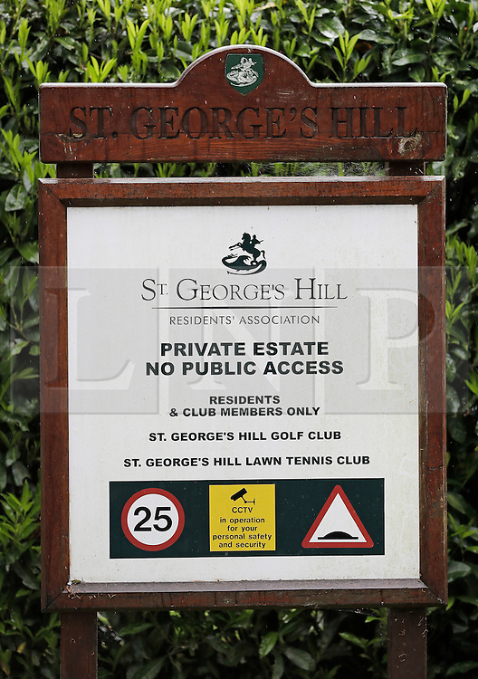 © London News Pictures. 21/05/2016. Weybridge, UK. A sign at a gated entrance to St George's Hill estate near Weybridge in Surrey where the body of a woman in her 30's was discovered by paramedics this morning (Sat). Photo credit: Peter Macdiarmid/LNP