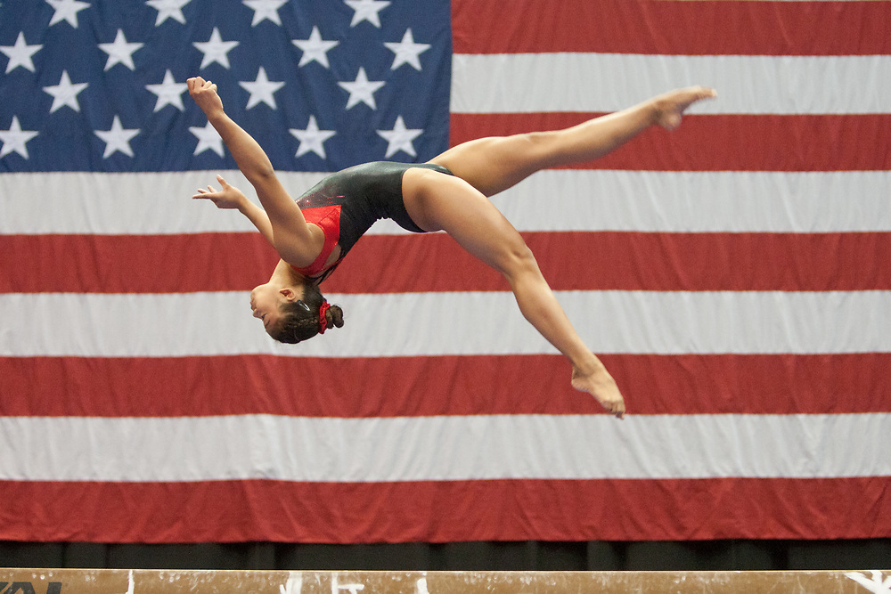 USA Gymnastics GK Classic - Schottenstein Center, Columbus, OH - July 28th, 2018. Emma Malabuyo during warm-ups;  competes on the beam  at the Schottenstein Center in Columbus, OH; in the USA Gymnastics GK Classic in the senior division. Simone Biles won the allround with Riley McCusker second and Morgan Hurd third. - Photo by Wally Nell/ZUMA Press