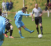 John Foley fires home Fairfield's second goal in their 2-1 win over Cutty Sark (black and white) in the Dundee Sunday FA League Cup Final at Downfield Park<br /> <br />  - &copy; David Young - www.davidyoungphoto.co.uk - email: davidyoungphoto@gmail.com