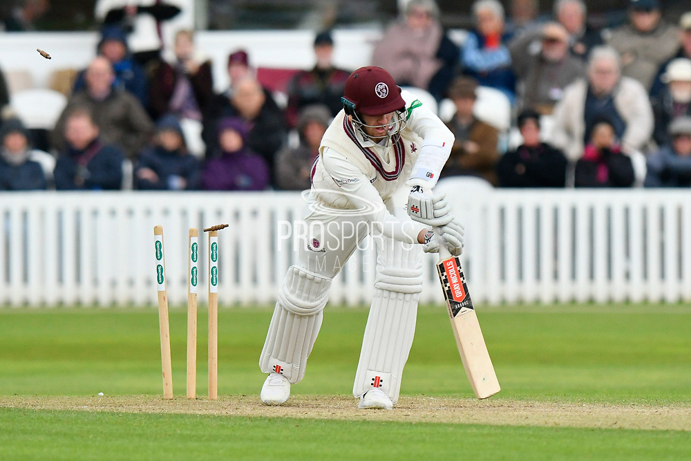 Wicket - Craig Overton of Somerset is bowled by Jack Brooks of Yorkshire during the third day of the Specsavers County Champ Div 1 match between Somerset County Cricket Club and Yorkshire County Cricket Club at the Cooper Associates County Ground, Taunton, United Kingdom on 29 April 2018. Picture by Graham Hunt.