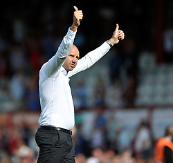 Charlton Athletic Manager, Bob Peeters gives the thumbs up to his team's supporters after the match - Photo mandatory by-line: Patrick Khachfe/JMP - Mobile: 07966 386802 09/08/2014 - SPORT - FOOTBALL - Brentford - Griffin Park - Brentford v Charlton Athletic - Sky Bet Championship - First game of the season