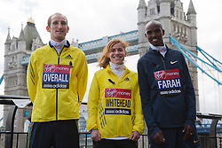 © Licensed to London News Pictures. 18/04/2013. London, L-R: Scott Overall, Amy Whitehead and double Olympic gold medal winner Mo Farah who will attempt a half marathon on Sunday, 21 April. England. Virgin London Marathon - Photocall with British Marathon Runners Athletes Scott Overall, Amy Whitehead and Mo Farah at Tower Bridge, London, ahead of Sunday's race. Photo credit: Bettina Strenske/LNP