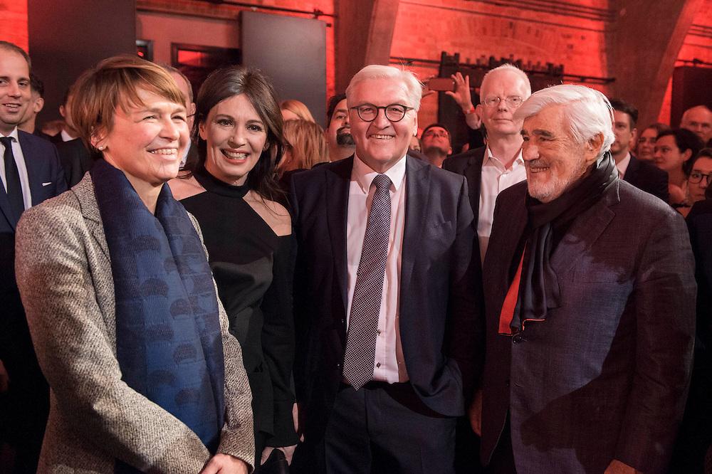 11 FEB 2017, BERLIN/GERMANY:<br /> Elke Buedenbender, Ehefrau von Steinmeier, Iris Berben, Schauspielerin, Frank-Walter Steinmeier, SPD, Kandidat fuer das Amt des Bundespraesidenten, und Mario Adorf, Schauspieler, (v.L.n.R.), waehrend einem Empfang der SPD anl. der Bundesversammlung, Westhafen Event und Convention Center<br />  IMAGE: 20170211-03-029<br /> KEYWORDS: Elke Büdenbender