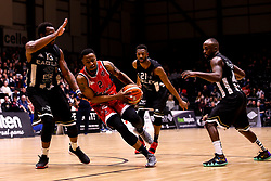 Panos Mayindombe of Bristol Flyers takes on Darius Defoe of Newcastle Eagles - Photo mandatory by-line: Robbie Stephenson/JMP - 01/03/2019 - BASKETBALL - Eagles Community Arena - Newcastle upon Tyne, England - Newcastle Eagles v Bristol Flyers - British Basketball League Championship