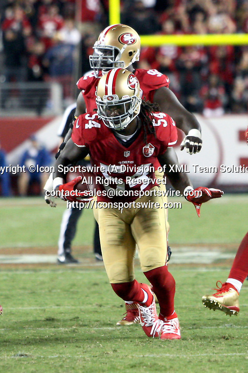September 12 2016: Linebacker Ray-Ray Armstrong of the San Francisco 49ers after intercepting a Case Keenum pass during the Third Quarter (1:10) of a 28-0 victory over the Los Angeles Rams at Levi's Stadium in Santa Clara, CA (Photo by Rob Holt/Icon Sportswire)