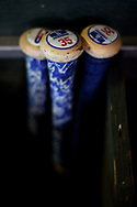 PHOENIX, AZ - AUGUST 31:  Cody Bellinger #35 of the Los Angeles Dodgers bats as they sit in the bat rack in the dugout for the game against the Arizona Diamondbacks at Chase Field on August 31, 2017 in Phoenix, Arizona.  (Photo by Jennifer Stewart/Getty Images)