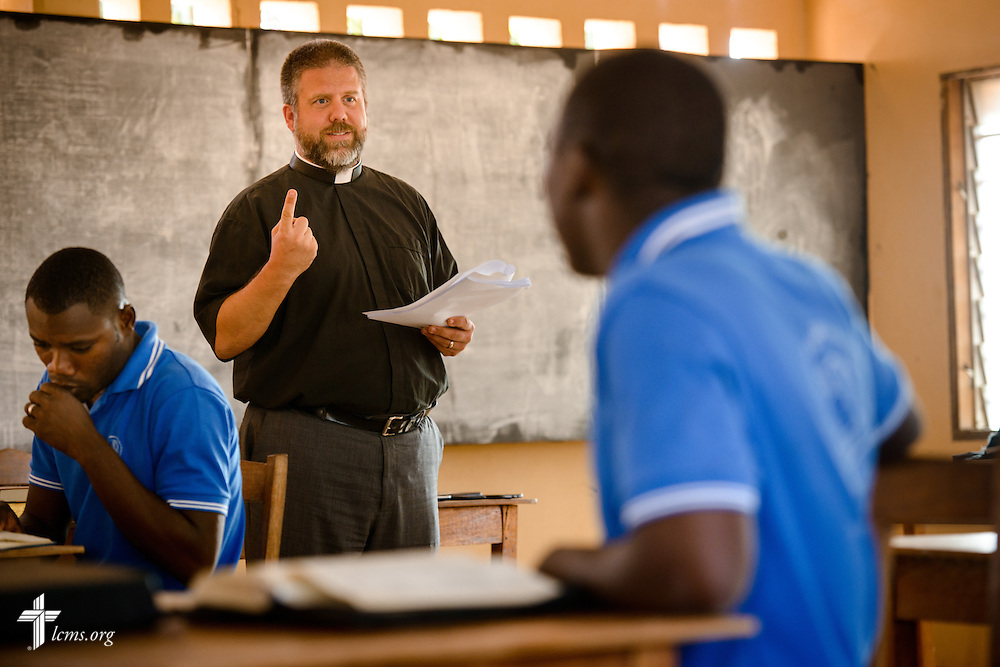 The Rev. Micah Wildaur, theological educator and LCMS missionary to Togo, talks to students during class at the Lutheran Center for Theological Studies (CLET) on Wednesday, Feb. 15, 2017, in Dapaong, Togo. LCMS Communications/Erik M. Lunsford