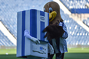 West Bromwich Albion mascots, Baggie Bird and Boiler man make last minute adjustments during the EFL Sky Bet Championship play-off second leg match between West Bromwich Albion and Aston Villa at The Hawthorns, West Bromwich, England on 14 May 2019.
