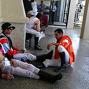 Jockey's relax between races during a day at the Races at Ascot Park, Invercargill, Southland, New Zealand. 10th December 2011. Photo Tim Clayton