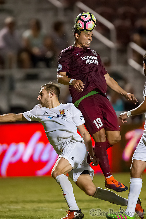 Sacramento Republic FC forward Sammy Ochoa (13), heads the ball near the gaol as the Sac Republic host the Real Monarchs SLC at Papa Murphy's Park, Wednesday Sep 27, 2017. The Monarchs won the match 2-0.<br /> photo by Brian Baer