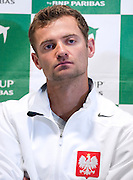 Mariusz Fyrstenberg of Poland while press conference three days before the BNP Paribas Davis Cup 2013 between Poland and South Africa at MOSiR Hall in Zielona Gora on April 02, 2013...Poland, Zielona Gora, April 02, 2013..Picture also available in RAW (NEF) or TIFF format on special request...For editorial use only. Any commercial or promotional use requires permission...Photo by © Adam Nurkiewicz / Mediasport