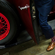May 3, 2012 - Hibernia, NJ : Musician and composer Michael Arenella steps out of his 1930 Buick Roadster Model 64, which is undergoing repair at Hibernia Auto Restorations LLC., located at 52 Maple Terrace in Hibernia, NJ. CREDIT : Karsten Moran for The New York Times