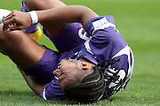 Etienne Capoue goes down with an injury. Toulouse v Lyon (2-0), Ligue 1, Stade Municipal, Toulouse, France, 1st May 2011.