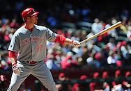 Apr. 10 2011; Phoenix, AZ, USA; Cincinnati Reds infielder Scott Rolen (27) reacts at bat against the Arizona Diamondbacks at Chase Field. Mandatory Credit: Jennifer Stewart-US PRESSWIRE..