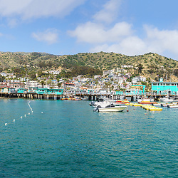 Catalina Island Avalon Harbor ultra high resolution panoramic image. Beautiful Santa Catalina Island is a popular travel destination off the coast of Southern California. Panoramic image ratio is 1:3 and is 108 megapixels. Copyright ⓒ 2017 Paul Velgos with All Rights Reserved.