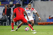 Depay Memphis of Lyon and Tameze Aoutsa Adrien of Nice during the French championship L1 football match between Olympique Lyonnais and Amiens on August 12th, 2018 at Groupama stadium in Decines Charpieu near Lyon, France - Photo Romain Biard / Isports / ProSportsImages / DPPI
