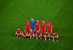 CARDIFF, WALES - Thursday, September 6, 2018: Wales players line-up for a team group photograph before the UEFA Nations League Group Stage League B Group 4 match between Wales and Republic of Ireland at the Cardiff City Stadium. Back row L-R: Captain Ashley Williams, goalkeeper Wayne Hennessey, Chris Mepham, Ben Davies, Ethan Ampadu. Front row L-R: Aaron Ramsey, Joe Allen, David Brooks, Connor Roberts, Tom Lawrence and Gareth Bale. (Pic by Laura Malkin/Propaganda)