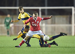 Bristol City's Joseff Morrell holds off an Oxford United challenge - Photo mandatory by-line: Paul Knight/JMP - Mobile: 07966 386802 - 05/11/2014 - SPORT - Football - Oxford - Loop Meadow Stadium - Oxford United v Bristol City - FA Youth Cup