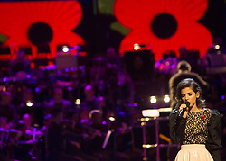 © Licensed to London News Pictures. 08/11/2013.  Singer Katie Melua takes part in rehearsals for the 2013 Festival of Remembrance.  Bands from the Army, Navy and the Royal Air Force will all perform alongside invited guests.  Held in the Royal Albert Hall the service will be watched by millions of people tomorrow evening (10 Nov 11).    Photo credit: Alison Baskerville/LNP