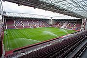 General view inside Tynecastle Park, Edinburgh, Scotland before the Ladbrokes Scottish Premiership match between Heart of Midlothian FC and Kilmarnock FC on 4 May 2019.