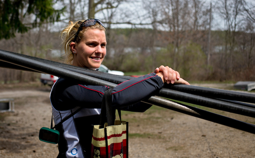 Lisa Roman member of the 2016 Canadian Olympic Rowing Team in the women's eight trains at Lake Fanshawe in London, Ontario Canada on April 25th, 2016.