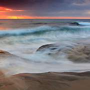 Incoming Waves At High Tide - La Jolla Shoreline - Dusk