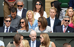 Image licensed to i-Images Picture Agency. 06/07/2014. London, United Kingdom. Pippa Middleton and Nico Jackson with Pippa's parents Michael and Carole Middleton in the Royal Box  at the Wimbledon Men's Final.  Picture by Andrew Parsons / i-Images
